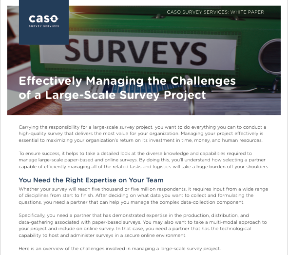 White Paper: Managing Challenges of Large-Scale Surveys