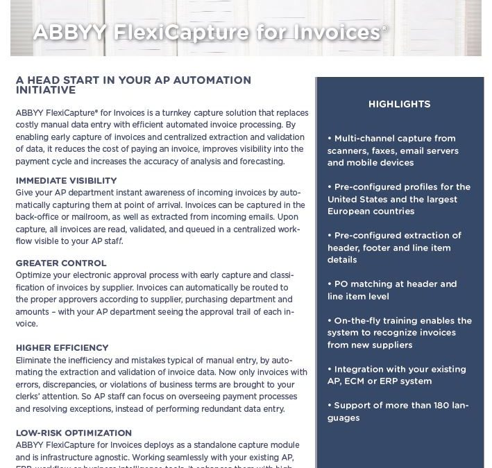ABBYY Flexicapture for Invoices Data Sheet