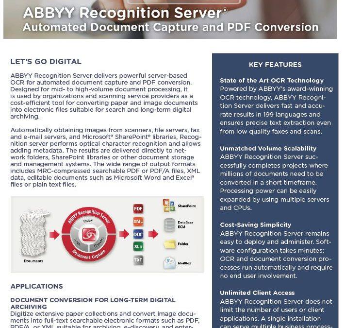 ABBYY Recognition Server Data Sheet