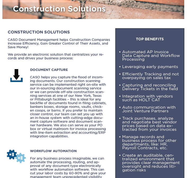 Construction Solutions Data Sheet