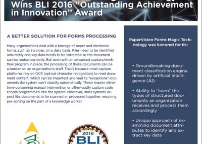 Forms Magic – BLI Award Data Sheet