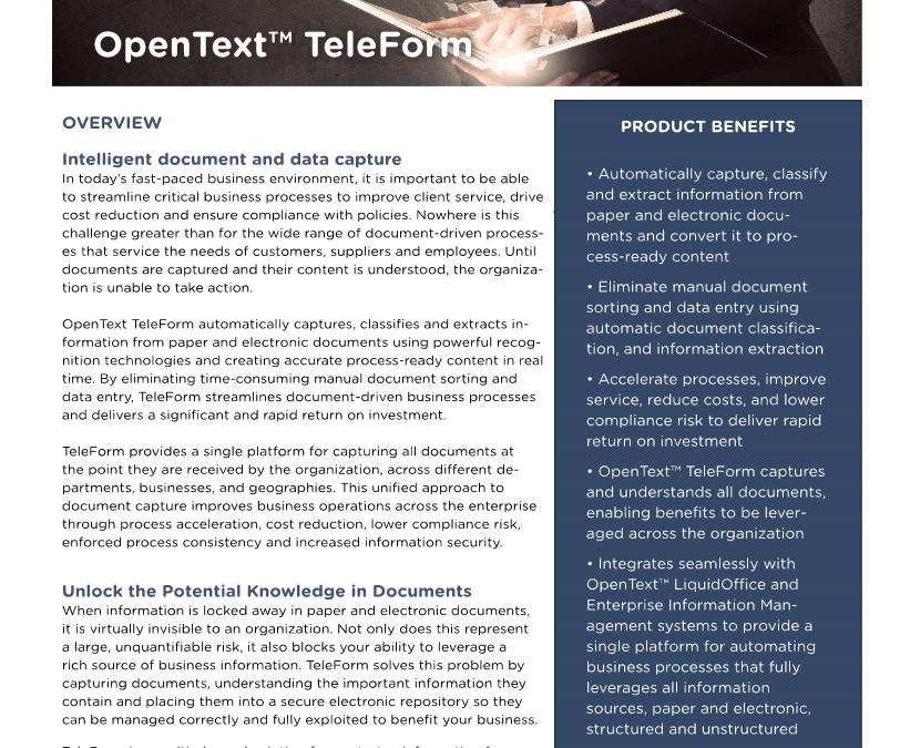 OpenText TeleForm Data Sheet